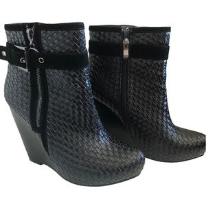Ameise Black Woven Leather Platform Wedge Booties